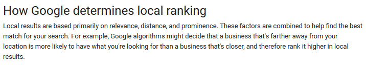 Google maps ranking factors