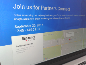 Dynamics Online - Google Partners Connect registration page