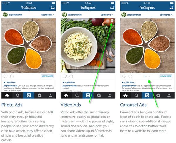 Instagram business advertising options